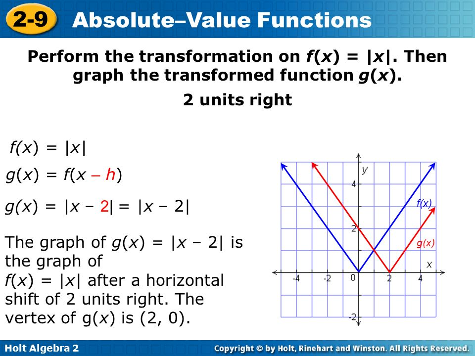 Graph and transform absolute-value functions. - ppt video online ...