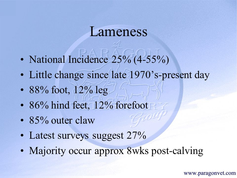 Lameness In Dairy Cattle - ppt video online download