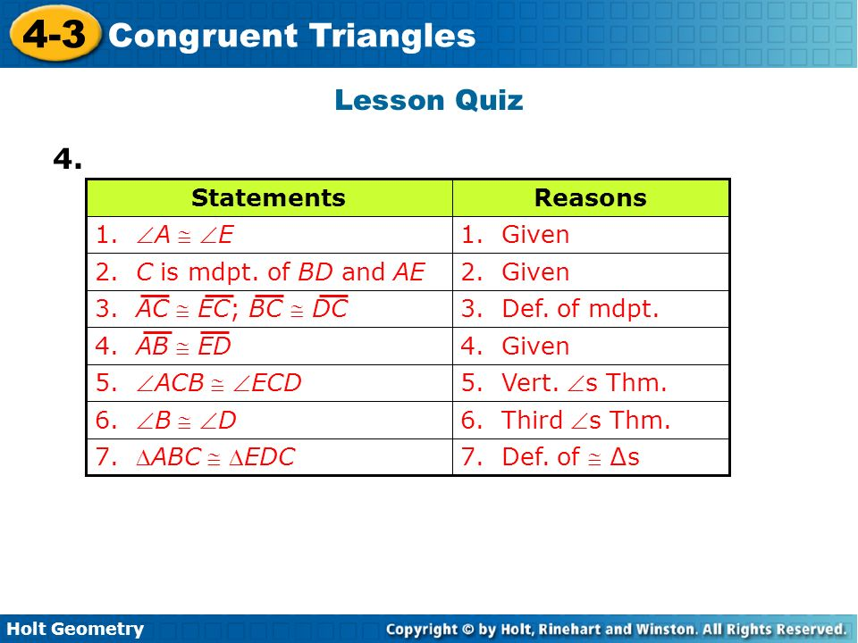 4 3 Congruent Triangles Warm Up Lesson Presentation Lesson