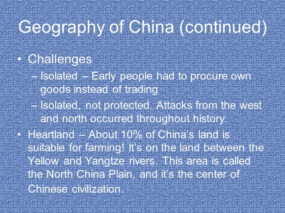 Geography of China (continued)