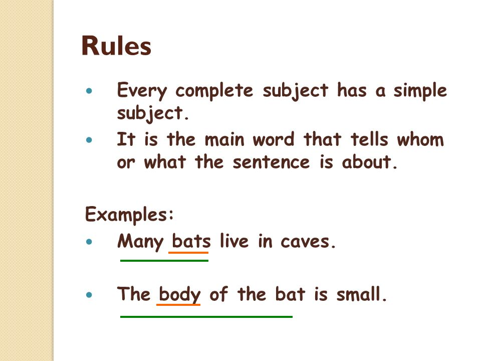 Complete and simple subjects examples.