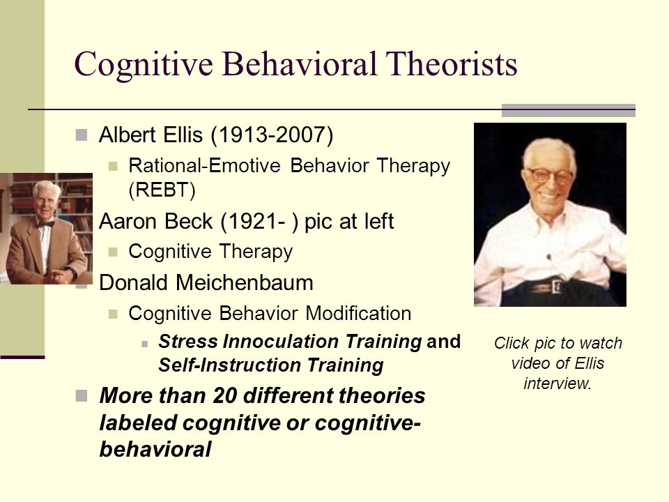 cognitive behavioral theory Cbt theory and techniques rely on the inductive method cbt theory and techniques rely on the inductive method cognitive-behavioral therapy does not exist as a distinct therapeutic technique the term cognitive-behavioral therapy (cbt) is a very general term for a classification of therapies with similarities.