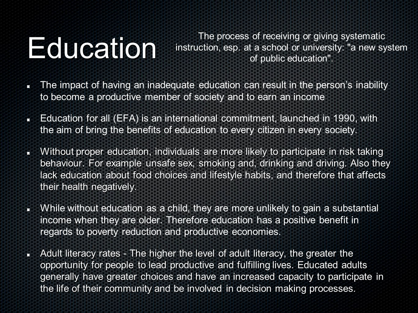 impact of lack of education