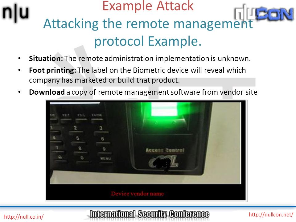 Example Attack Attacking the remote management protocol Example.