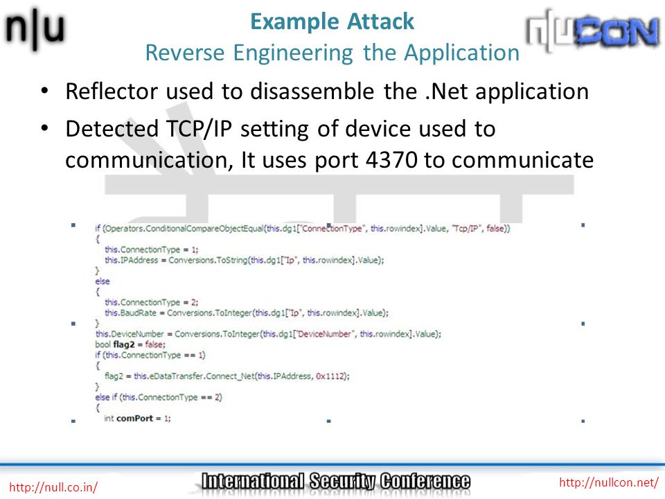Example Attack Reverse Engineering the Application