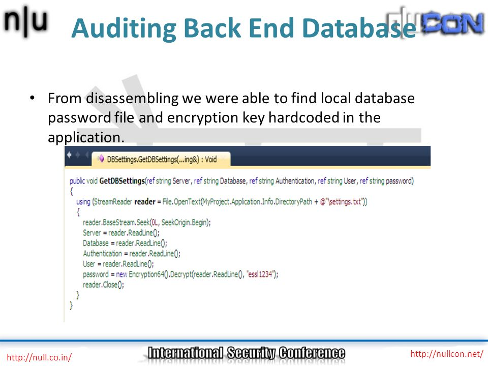 Auditing Back End Database