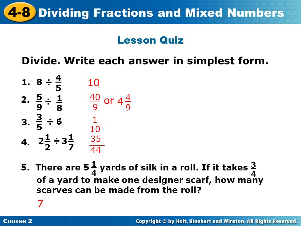simplest form 4/8  8-8 Dividing Fractions and Mixed Numbers Warm Up Problem of ...
