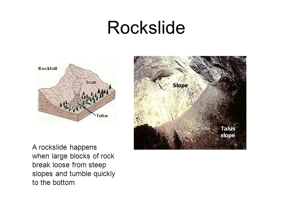 Rockslide A rockslide happens when large blocks of rock break loose from steep slopes and tumble quickly to the bottom.