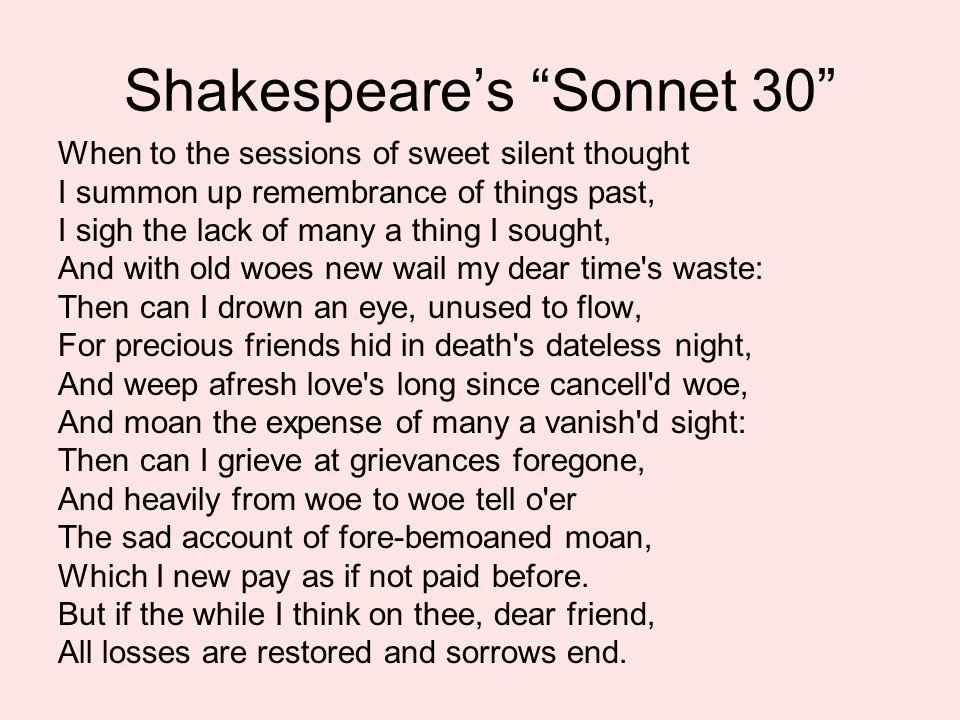 shakespeare sonnet 30 theme