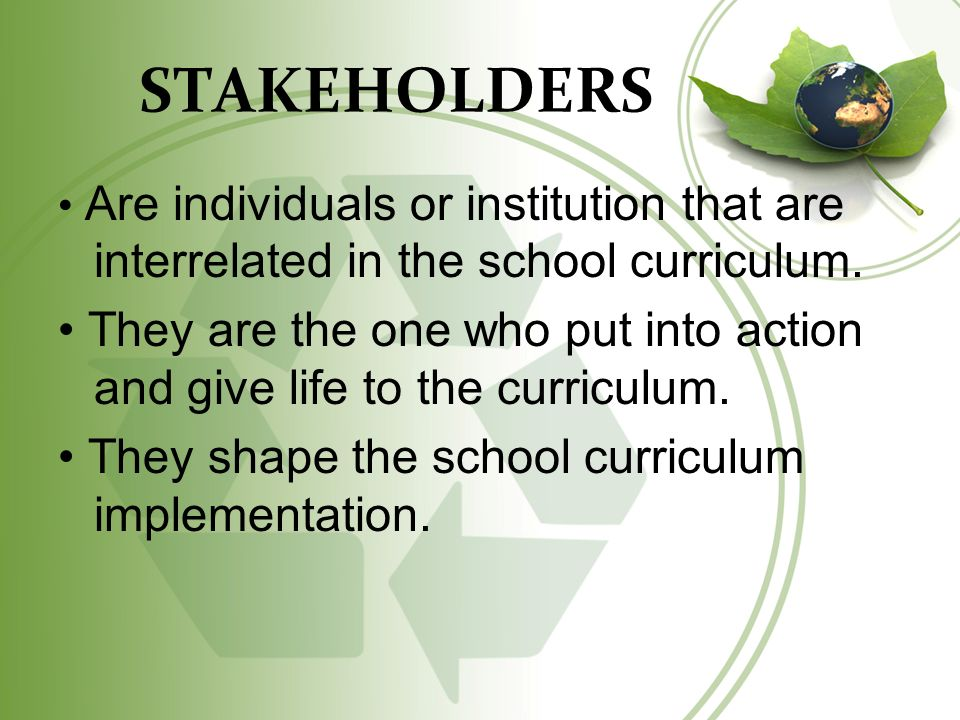the roles of stakeholders in curriculum implementation reflection