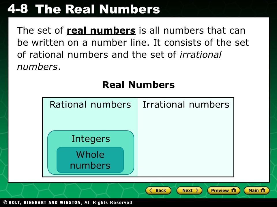 The set of real numbers is all numbers that can be written on a number line. It consists of the set of rational numbers and the set of irrational numbers.