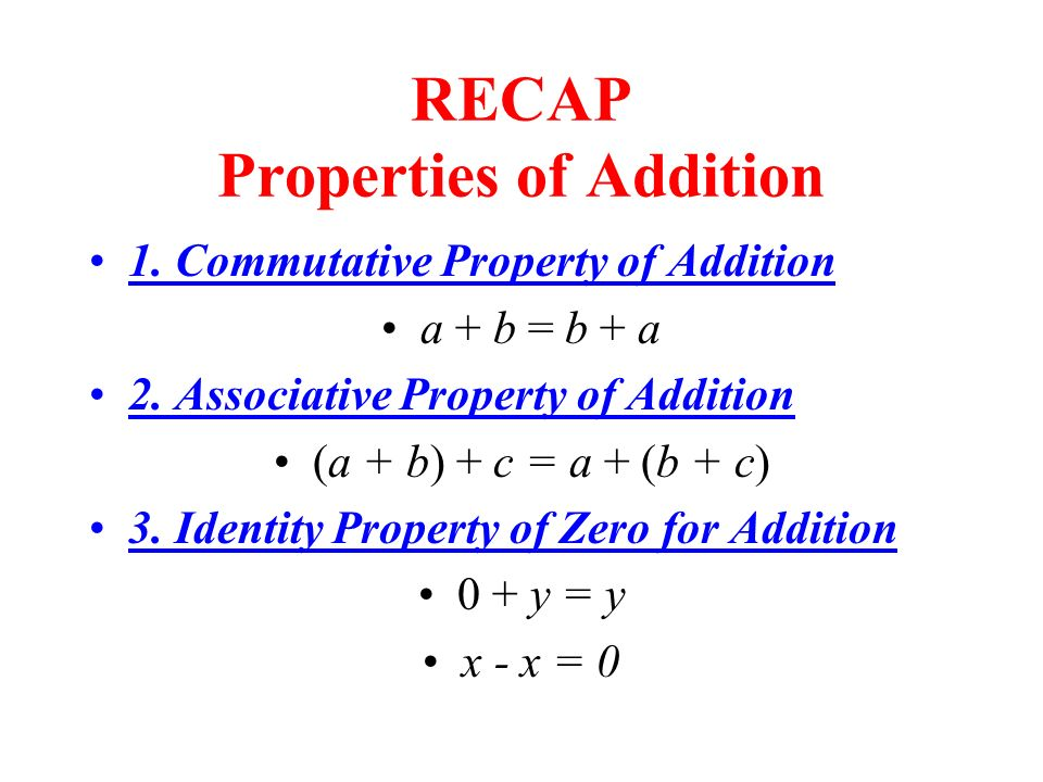 RECAP Properties of Addition
