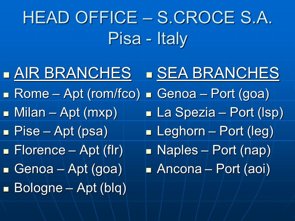 HEAD OFFICE – S.CROCE S.A. Pisa - Italy