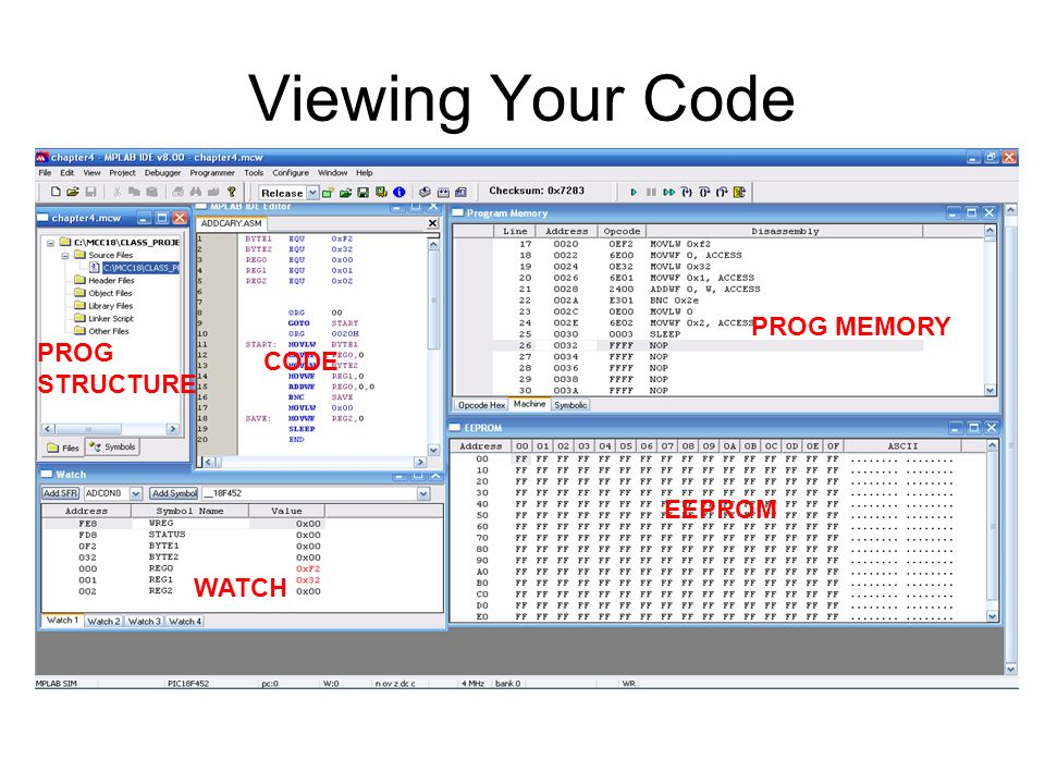 Viewing Your Code PROG MEMORY PROG STRUCTURE CODE EEPROM WATCH