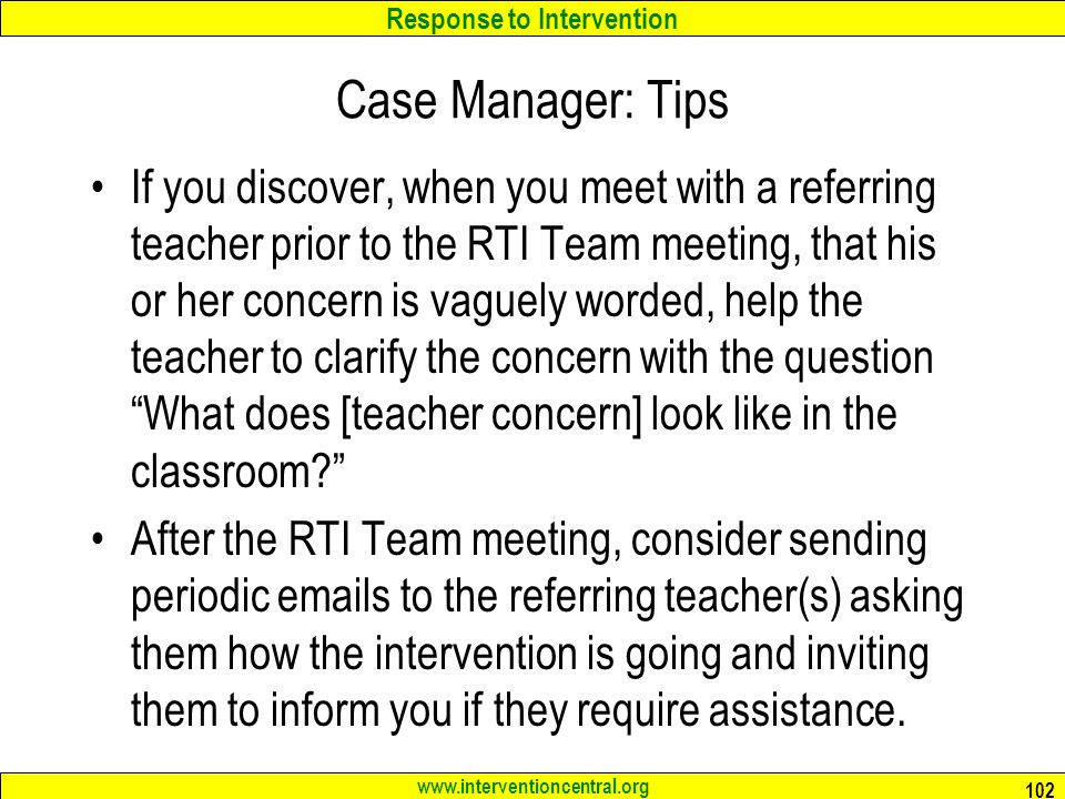 Case Manager: Tips