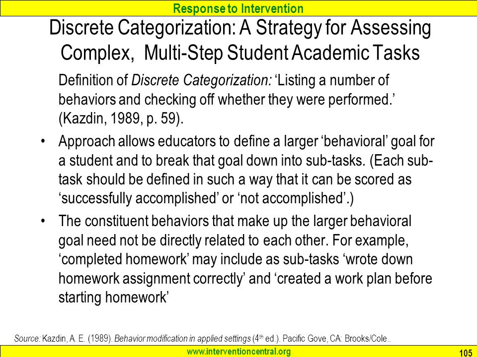 Discrete Categorization: A Strategy for Assessing Complex, Multi-Step Student Academic Tasks