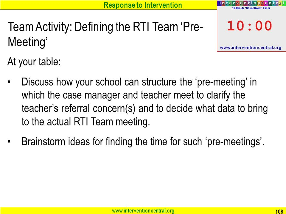 Team Activity: Defining the RTI Team 'Pre-Meeting'