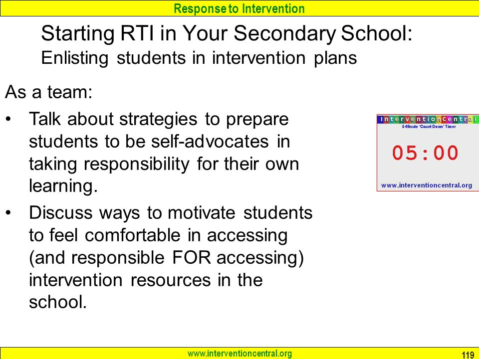 Starting RTI in Your Secondary School: Enlisting students in intervention plans