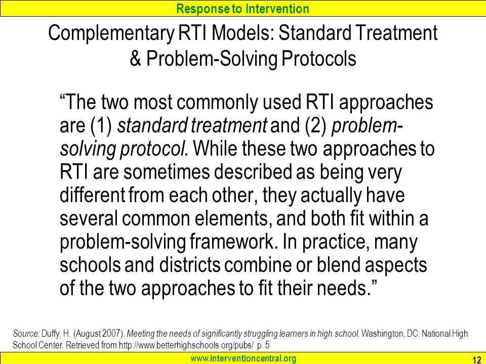 Complementary RTI Models: Standard Treatment & Problem-Solving Protocols