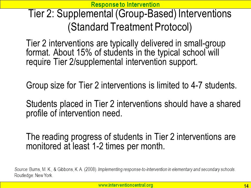 Tier 2: Supplemental (Group-Based) Interventions (Standard Treatment Protocol)