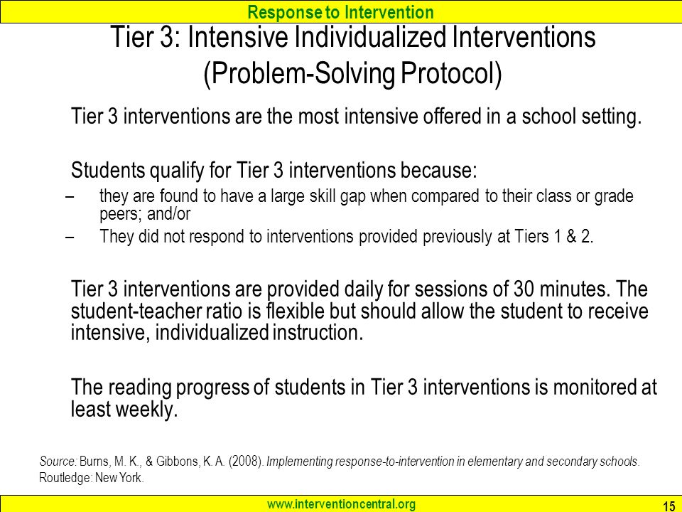 Tier 3: Intensive Individualized Interventions (Problem-Solving Protocol)