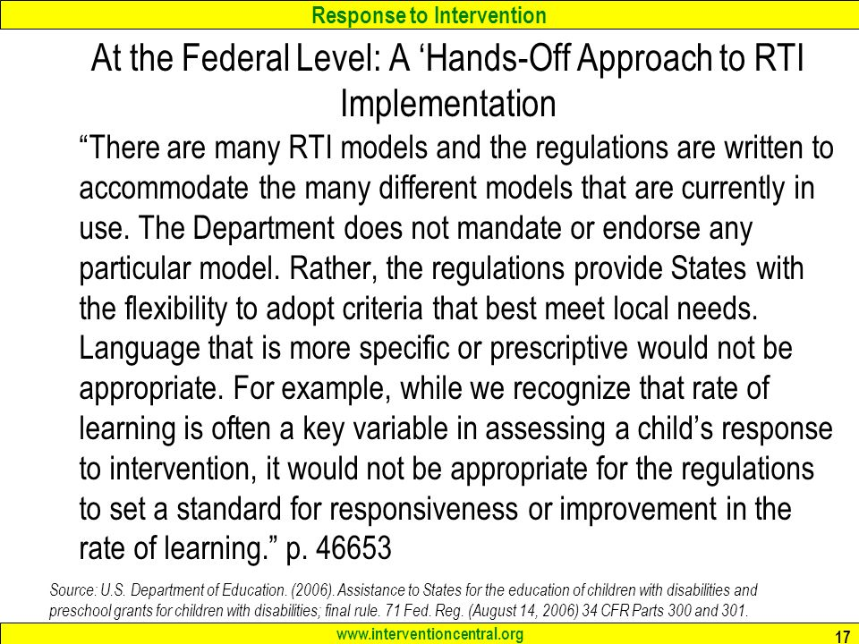 At the Federal Level: A 'Hands-Off Approach to RTI Implementation