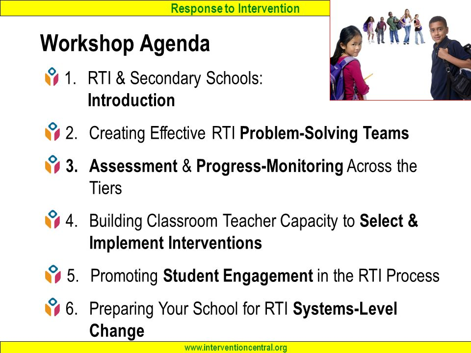 Workshop Agenda RTI & Secondary Schools: Introduction