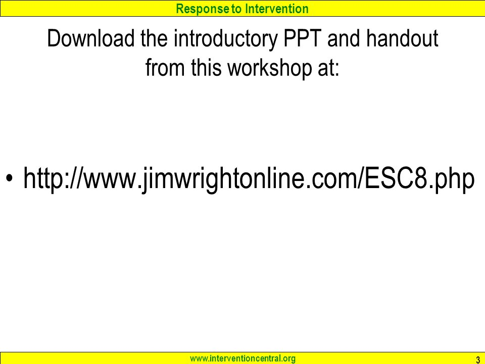 Download the introductory PPT and handout from this workshop at: