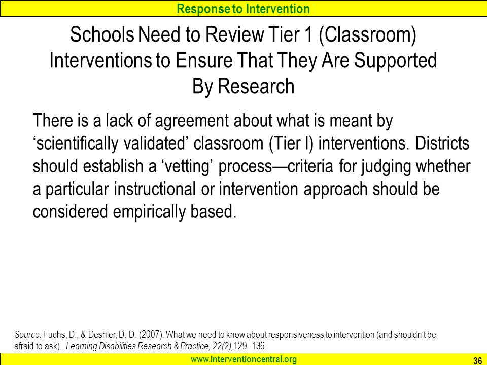 Schools Need to Review Tier 1 (Classroom) Interventions to Ensure That They Are Supported By Research