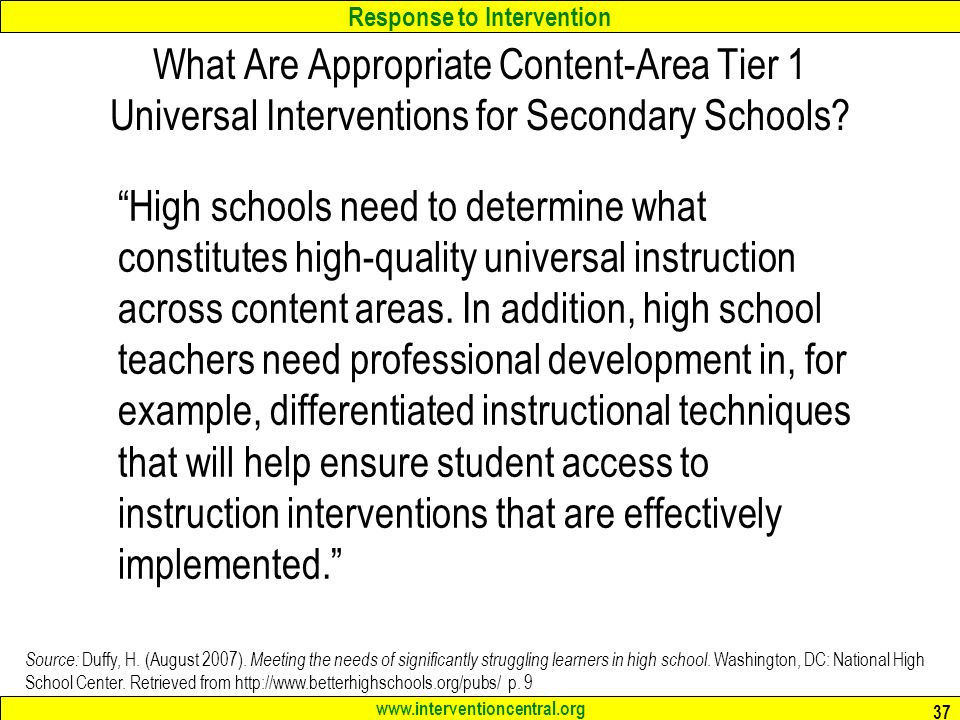 What Are Appropriate Content-Area Tier 1 Universal Interventions for Secondary Schools