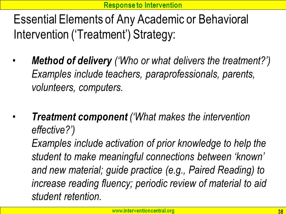Essential Elements of Any Academic or Behavioral Intervention ('Treatment') Strategy: