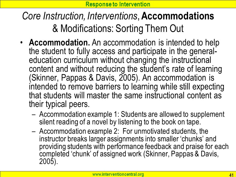 Core Instruction, Interventions, Accommodations & Modifications: Sorting Them Out