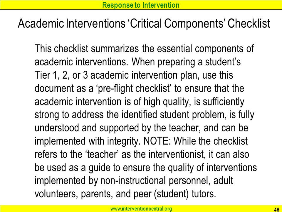 Academic Interventions 'Critical Components' Checklist