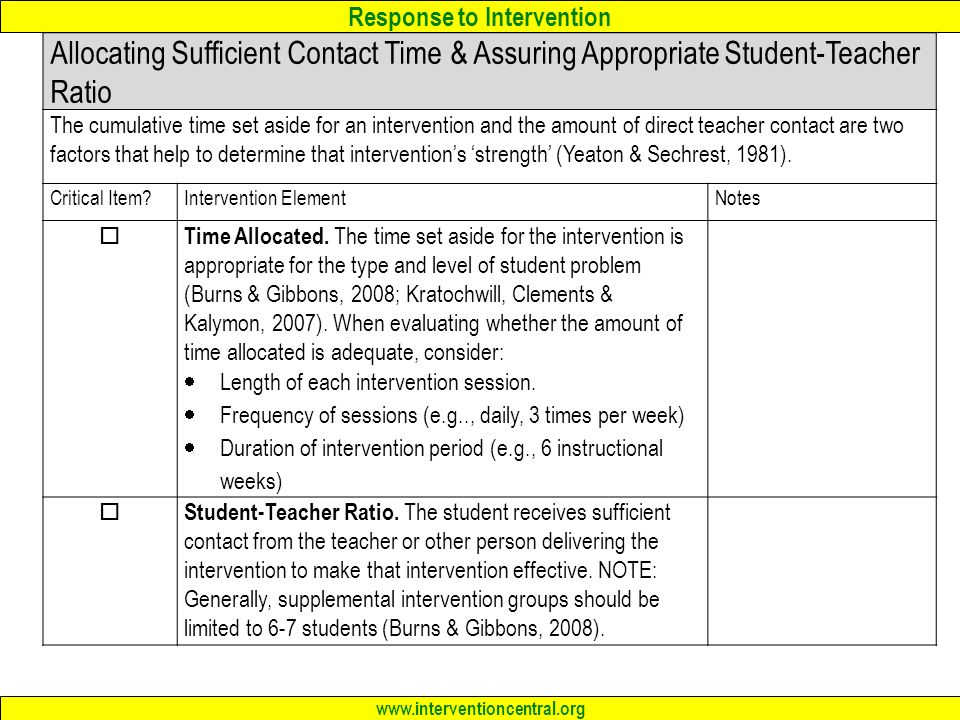 Allocating Sufficient Contact Time & Assuring Appropriate Student-Teacher Ratio