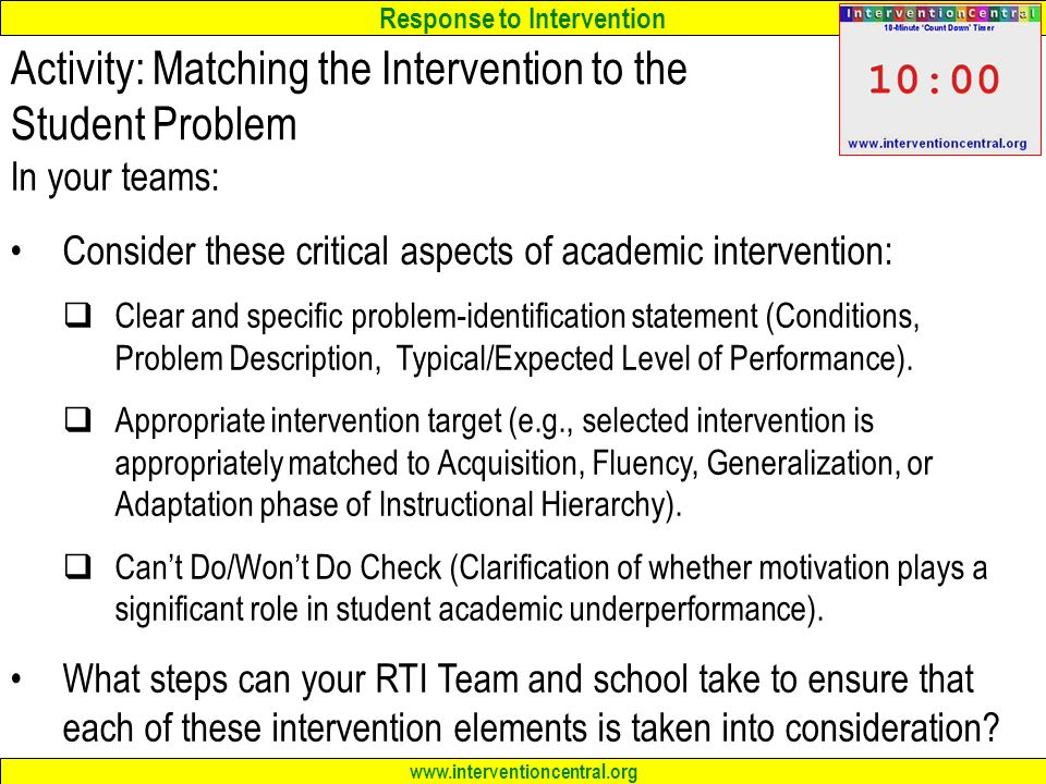 Activity: Matching the Intervention to the Student Problem