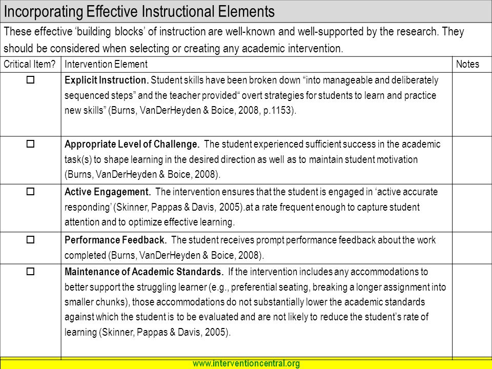 Incorporating Effective Instructional Elements