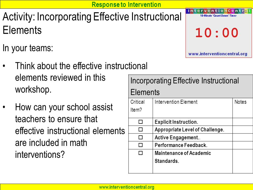 Activity: Incorporating Effective Instructional Elements