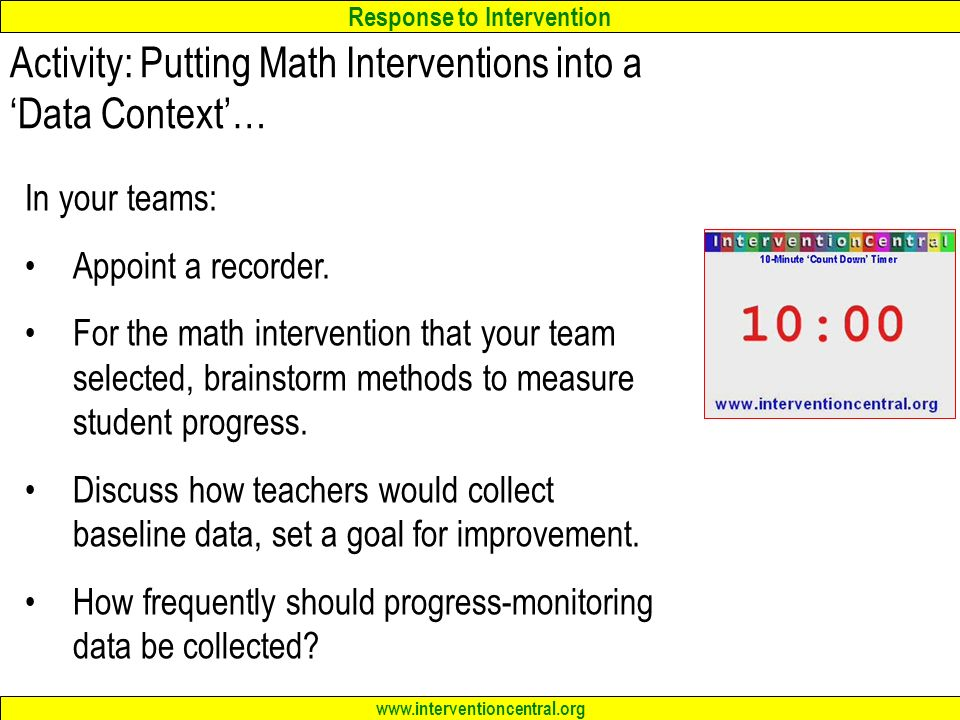 Activity: Putting Math Interventions into a 'Data Context'…
