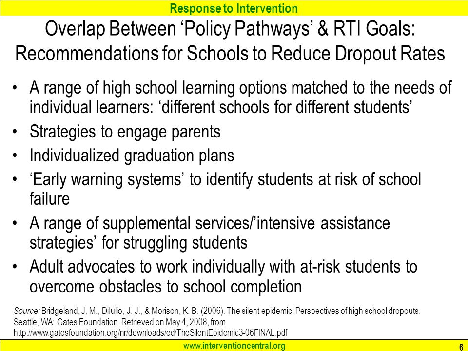Overlap Between 'Policy Pathways' & RTI Goals: Recommendations for Schools to Reduce Dropout Rates