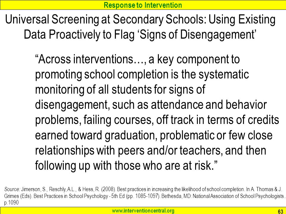 Universal Screening at Secondary Schools: Using Existing Data Proactively to Flag 'Signs of Disengagement'