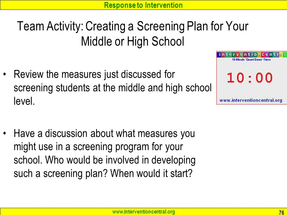 Team Activity: Creating a Screening Plan for Your Middle or High School