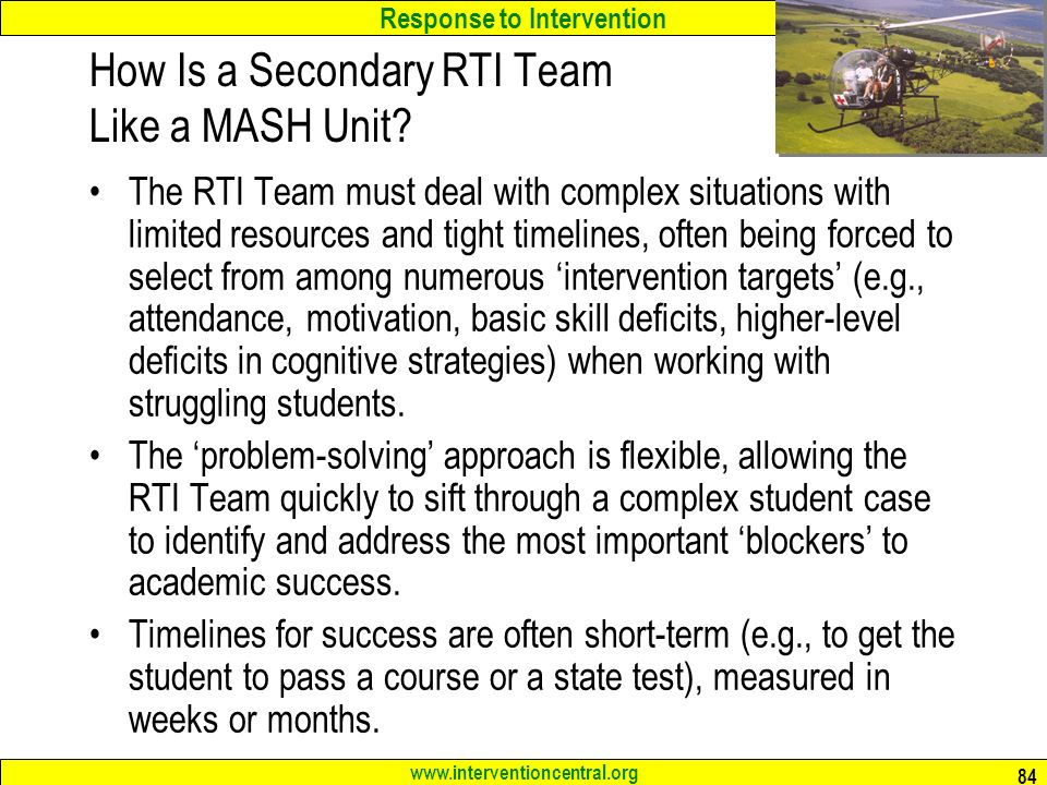 How Is a Secondary RTI Team Like a MASH Unit