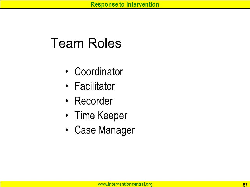 Team Roles Coordinator Facilitator Recorder Time Keeper Case Manager