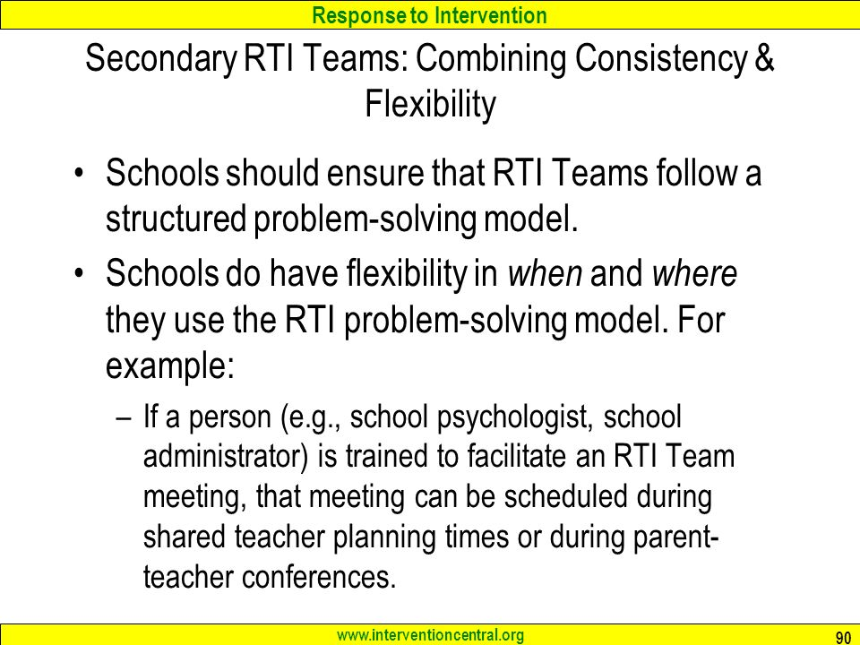 Secondary RTI Teams: Combining Consistency & Flexibility