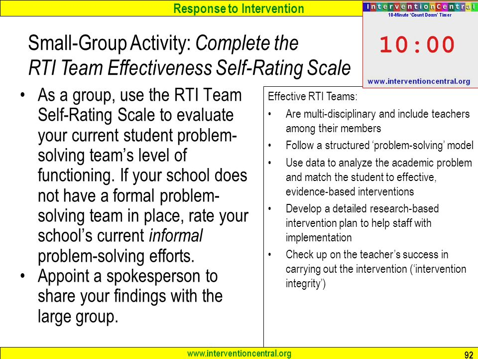 Small-Group Activity: Complete the RTI Team Effectiveness Self-Rating Scale