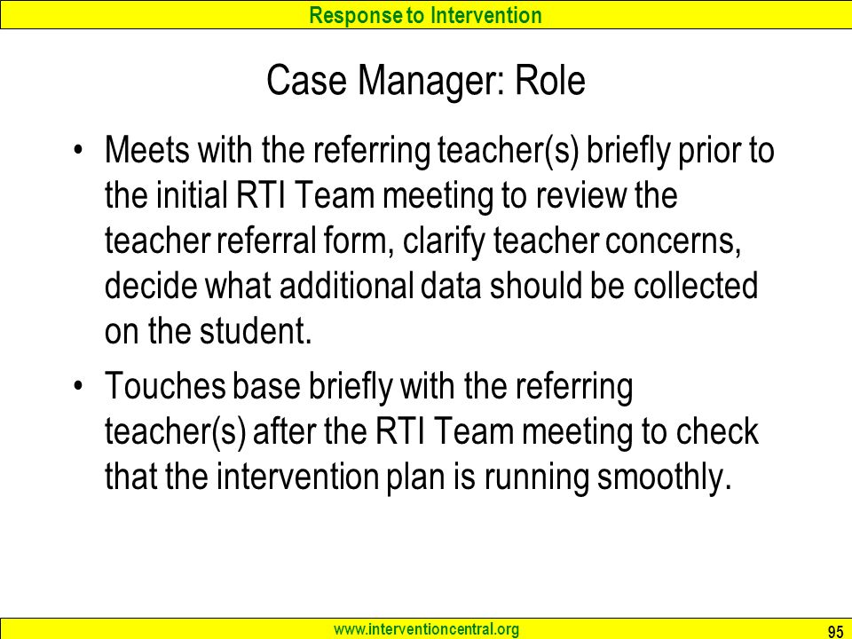 Case Manager: Role