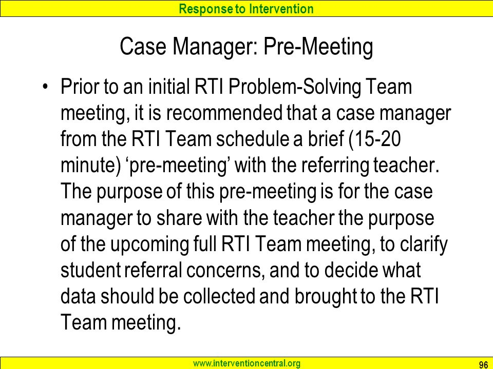 Case Manager: Pre-Meeting