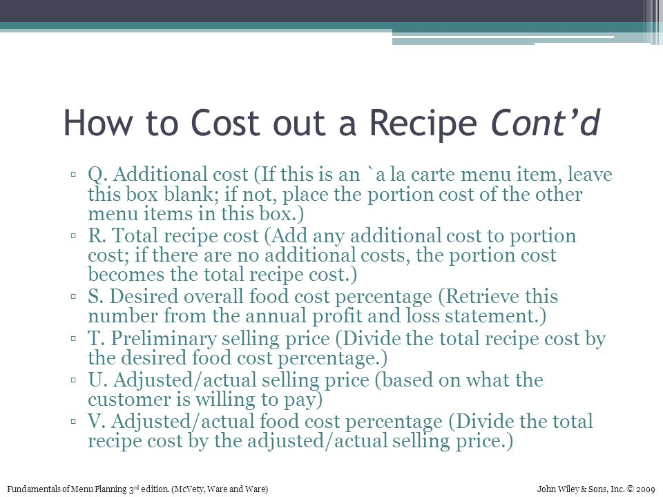 Chapter 7 Recipe Costing Ppt Download