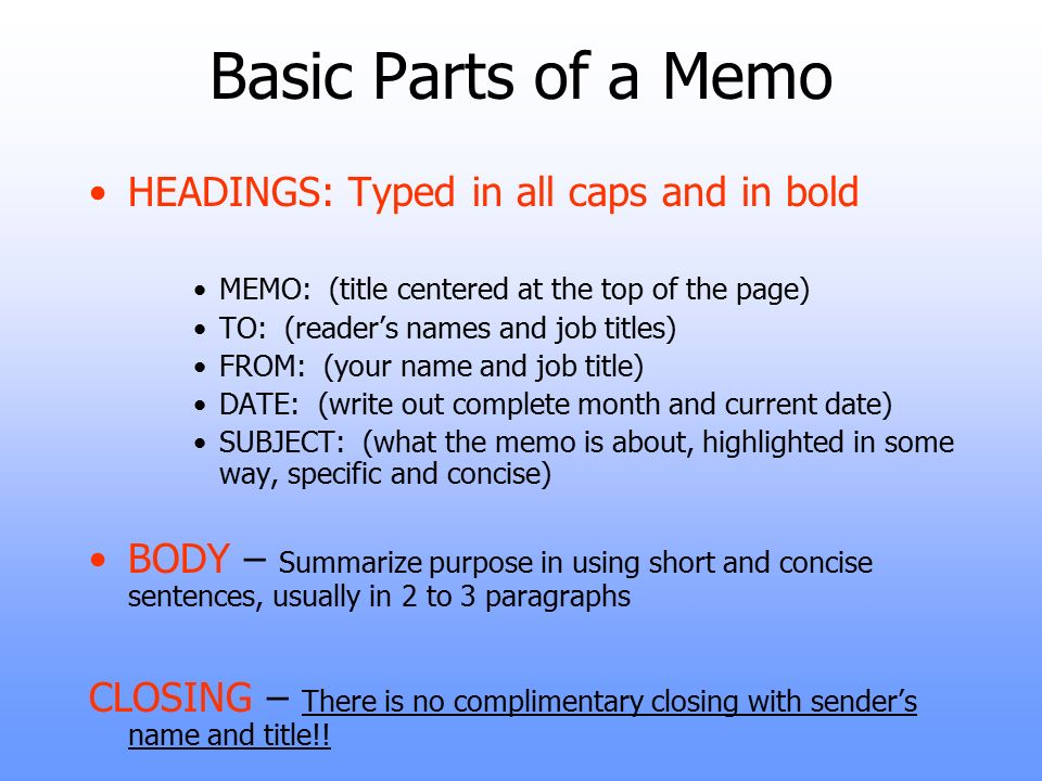 Standard Memorandum (Memo) Format. - ppt video online download