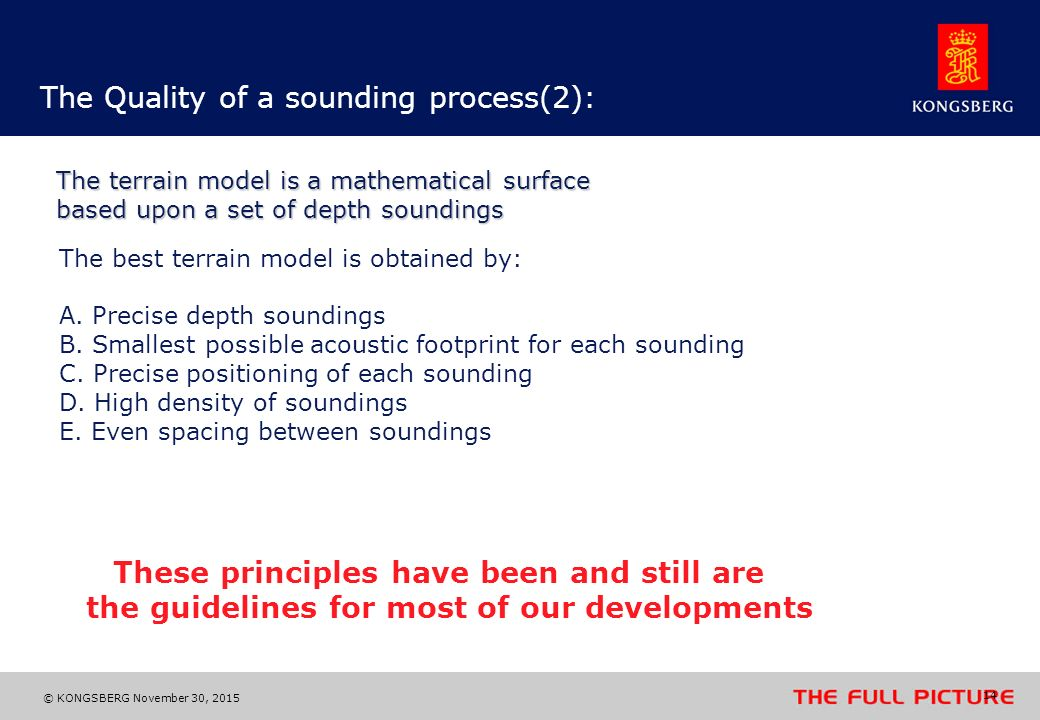 The Quality of a sounding process(2):